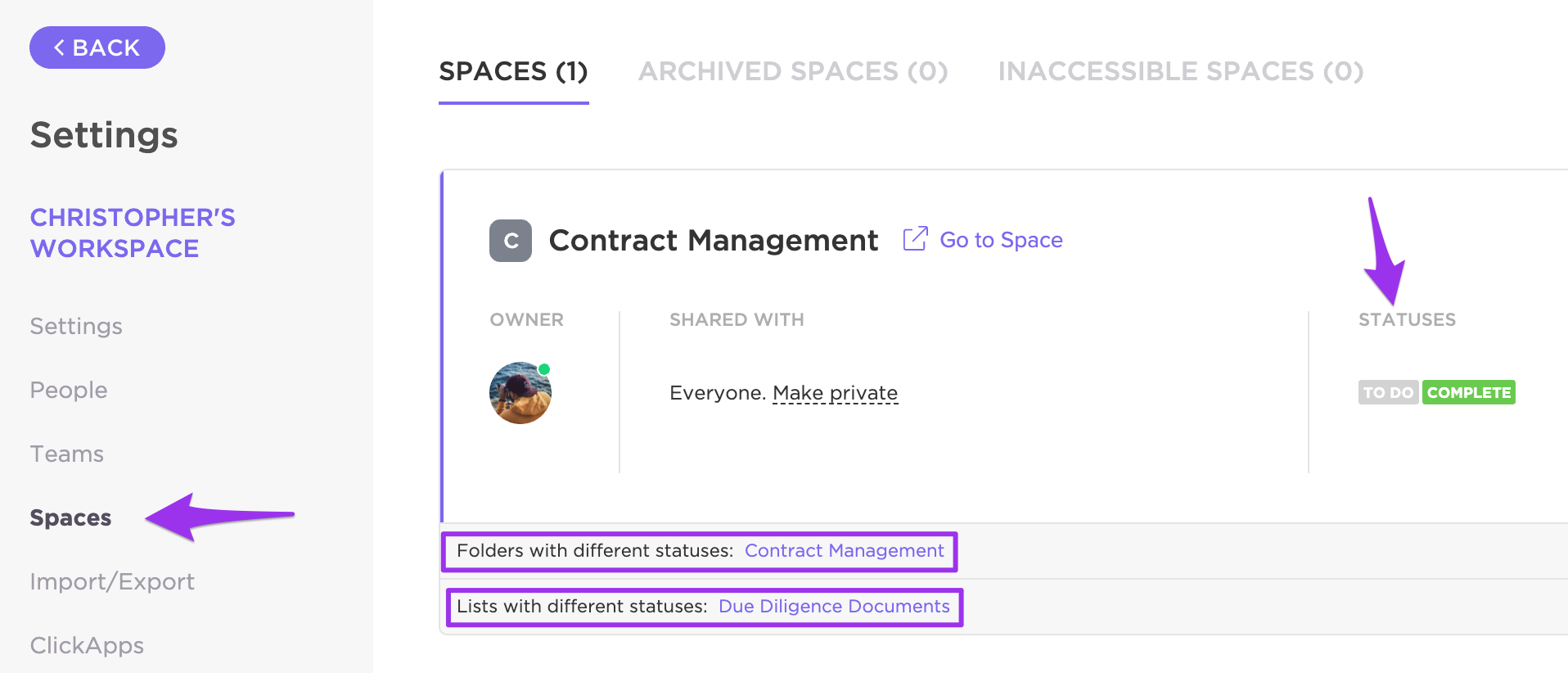 Locating Statuses in Spaces