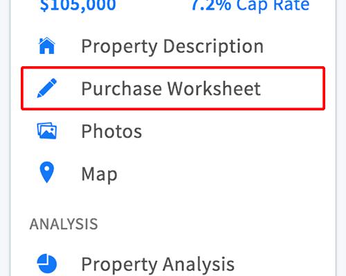 Purchase worksheet link in property menu