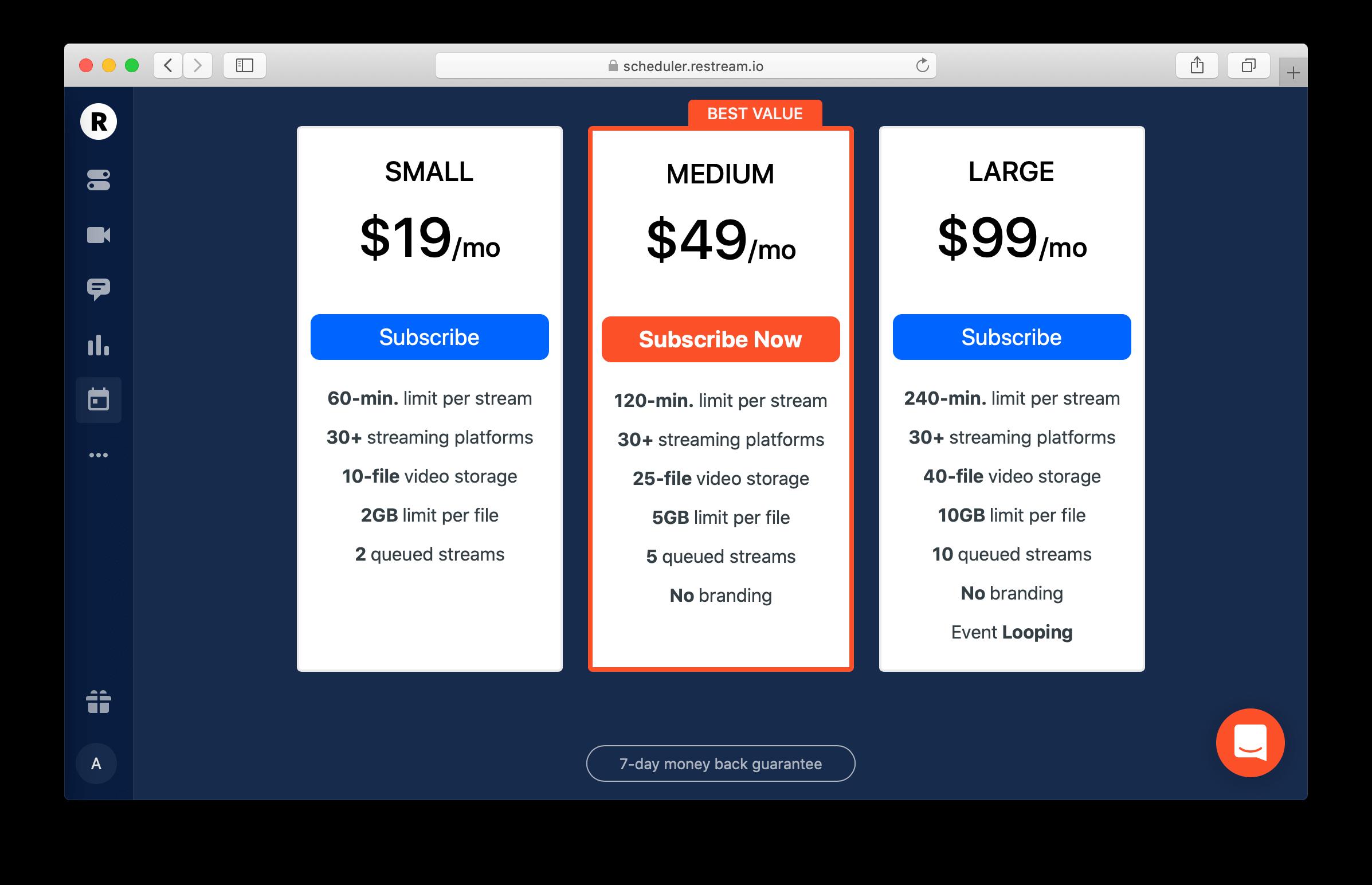 Restream Scheduler pricing