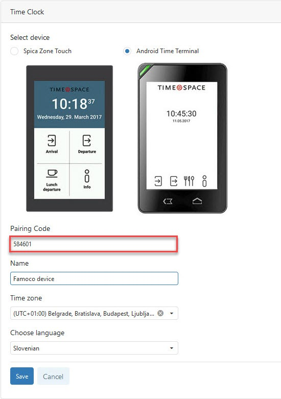 Add time clock - Select device
