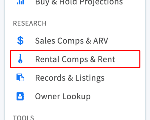 Rental comps & rent link in property menu