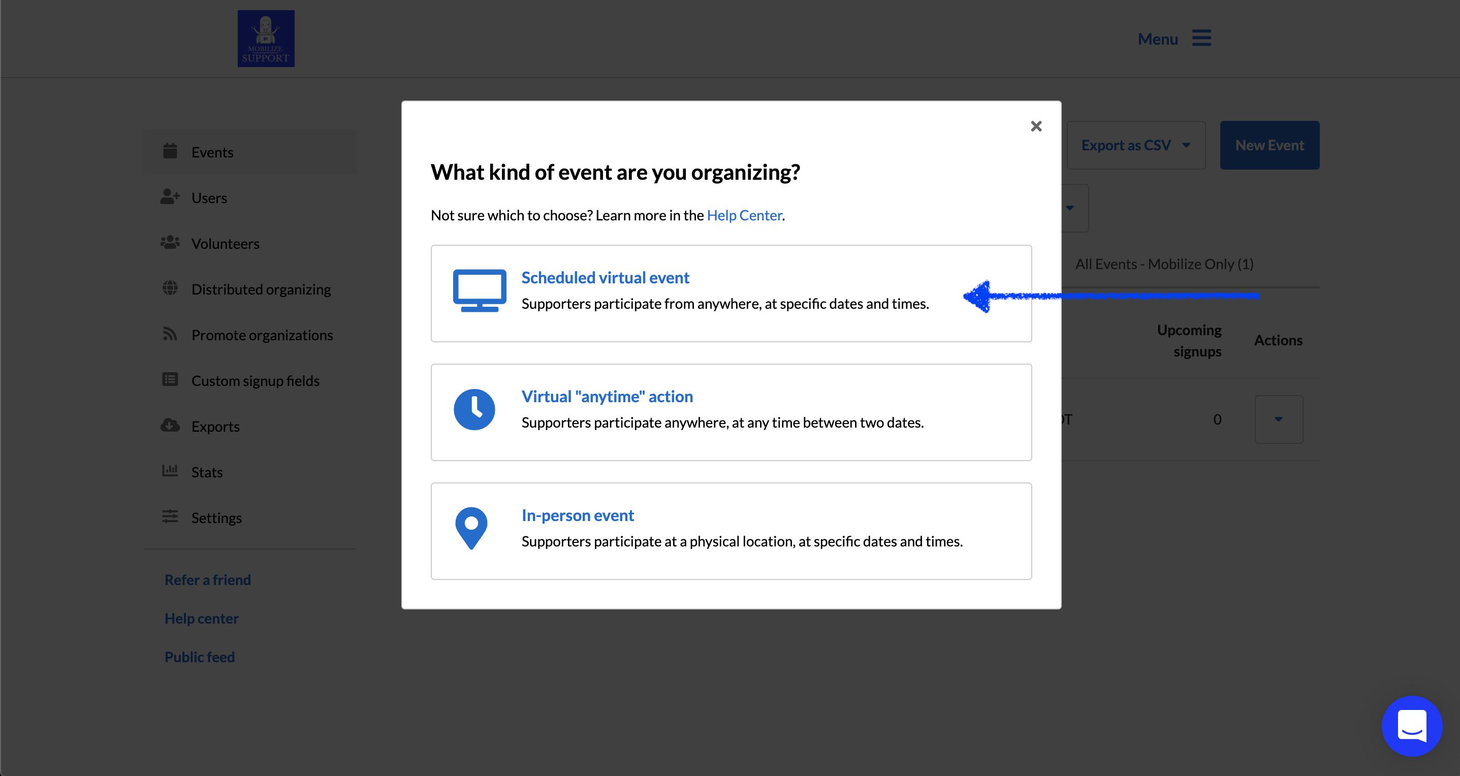 Screenshot of Event Creation screen: Select Scheduled virtual event button