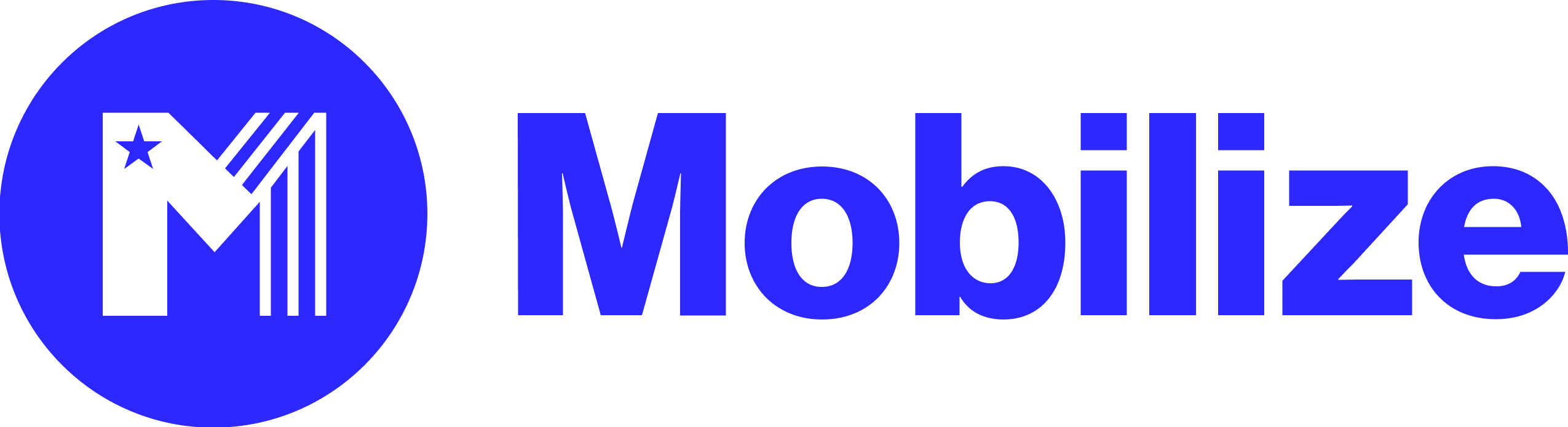 Mobilize Logo Blue circle background White letter M with a star and 3 white stripes