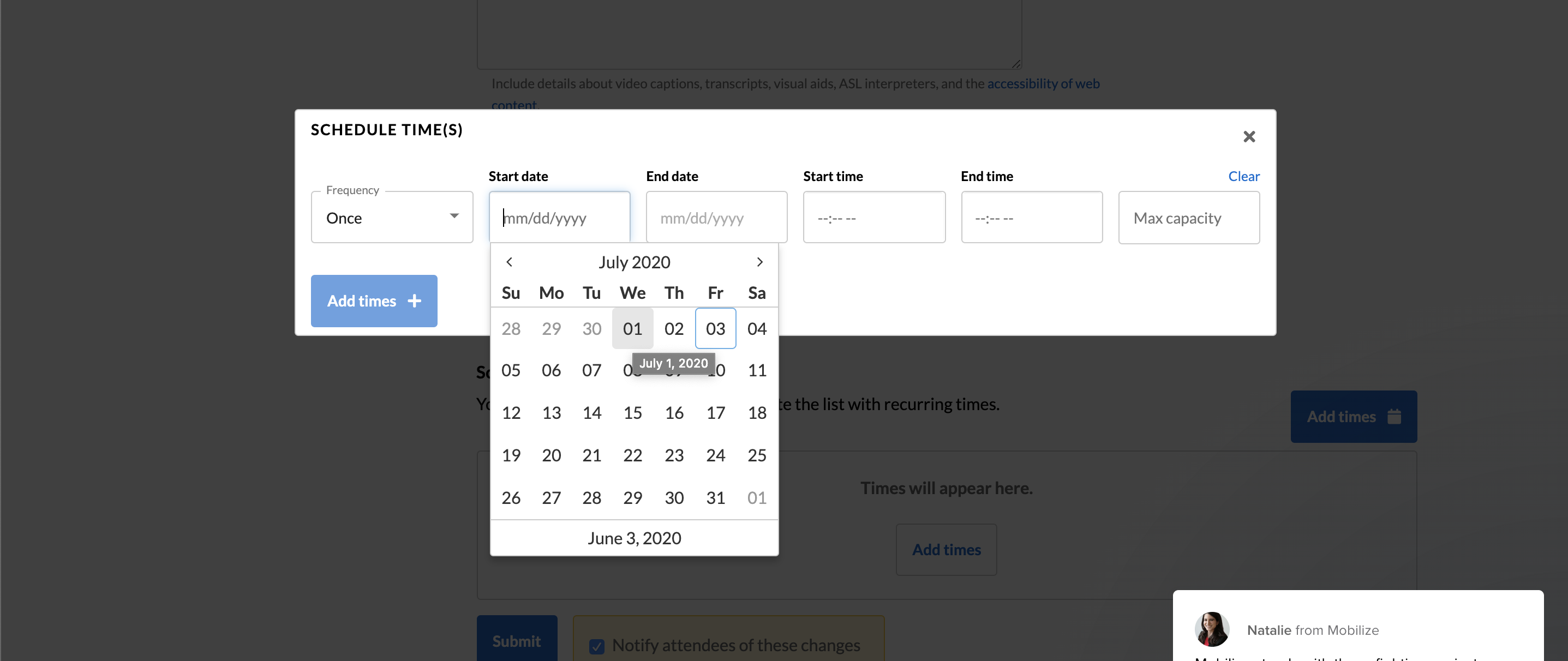 Screenshot of Event Creation screen: Add times modal with date picker