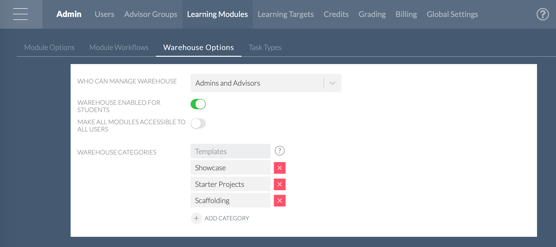 Admin: Warehouse Options / Settings