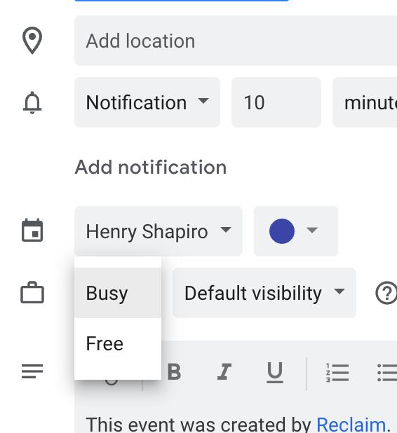Free/busy settings in Google Calendar