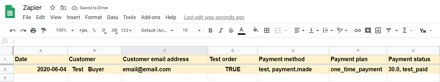 Google sheets result example