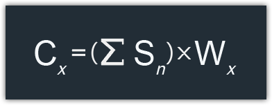 Criterion Score (Cx) is the Sum of Scores (∑Sn) multiplied by the Criterion Weight (Wx)