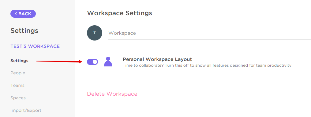 Toggling on Personal Workspace layout in the Settings page