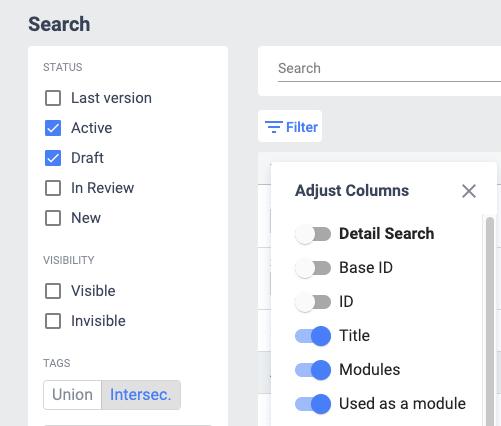 Modular document counter in adjust columns