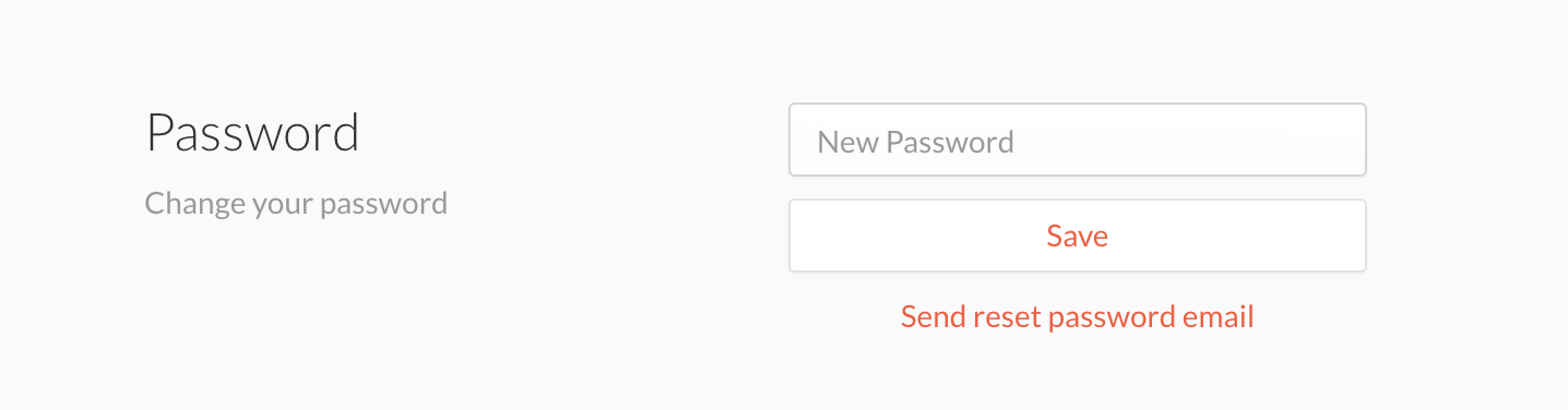 The password option within account settings