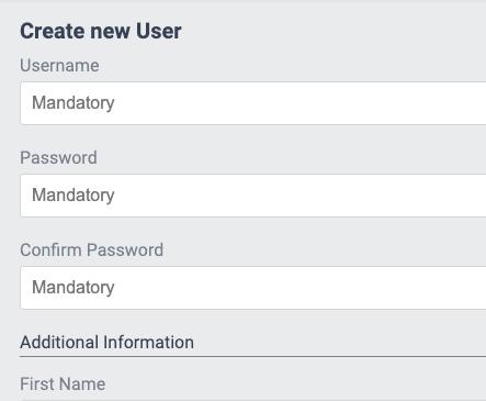 Create new User - Relevant data fields