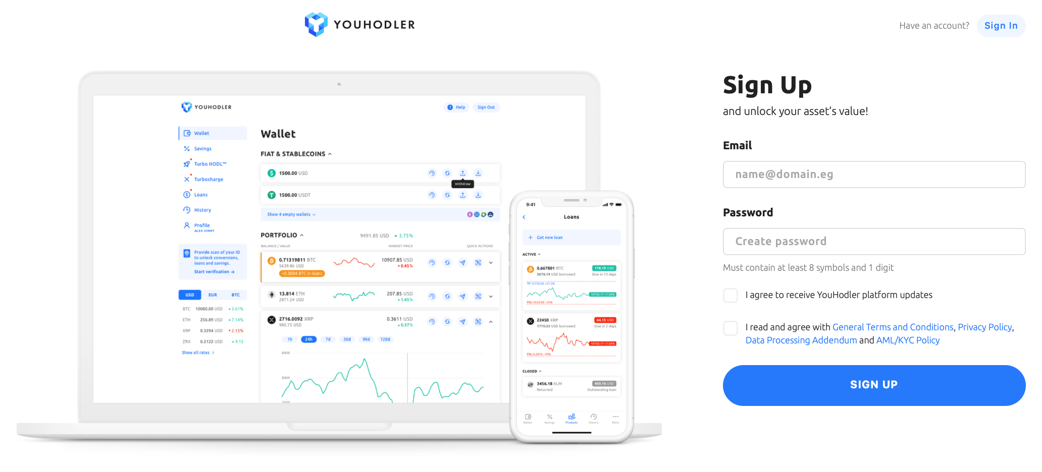 a screenshot showing how to sign up and get a crypto loan on youhodler
