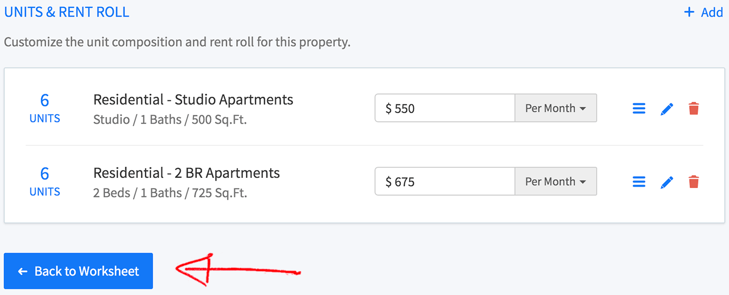 New multi-family property wizard - back to worksheet button