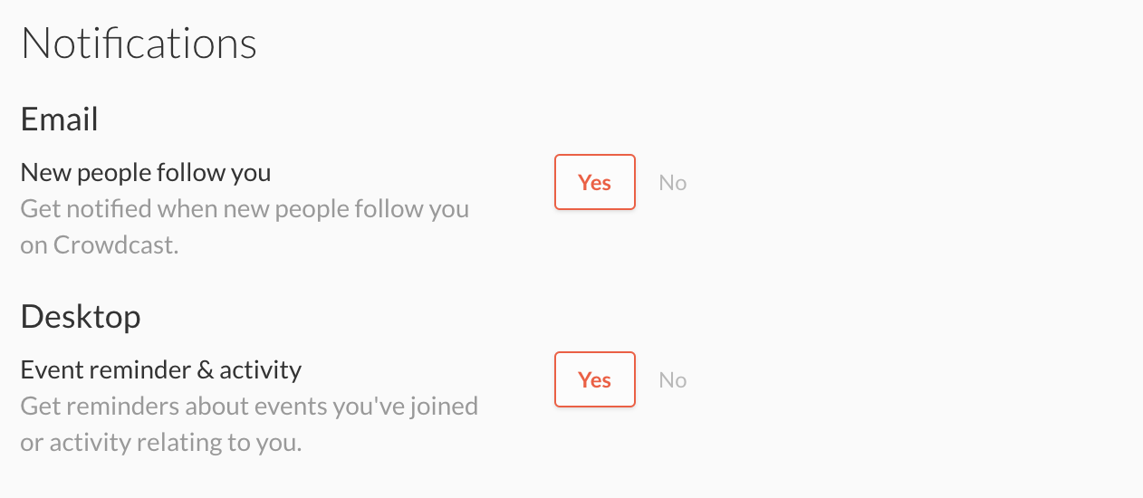 The notifications options within account settings for attendees