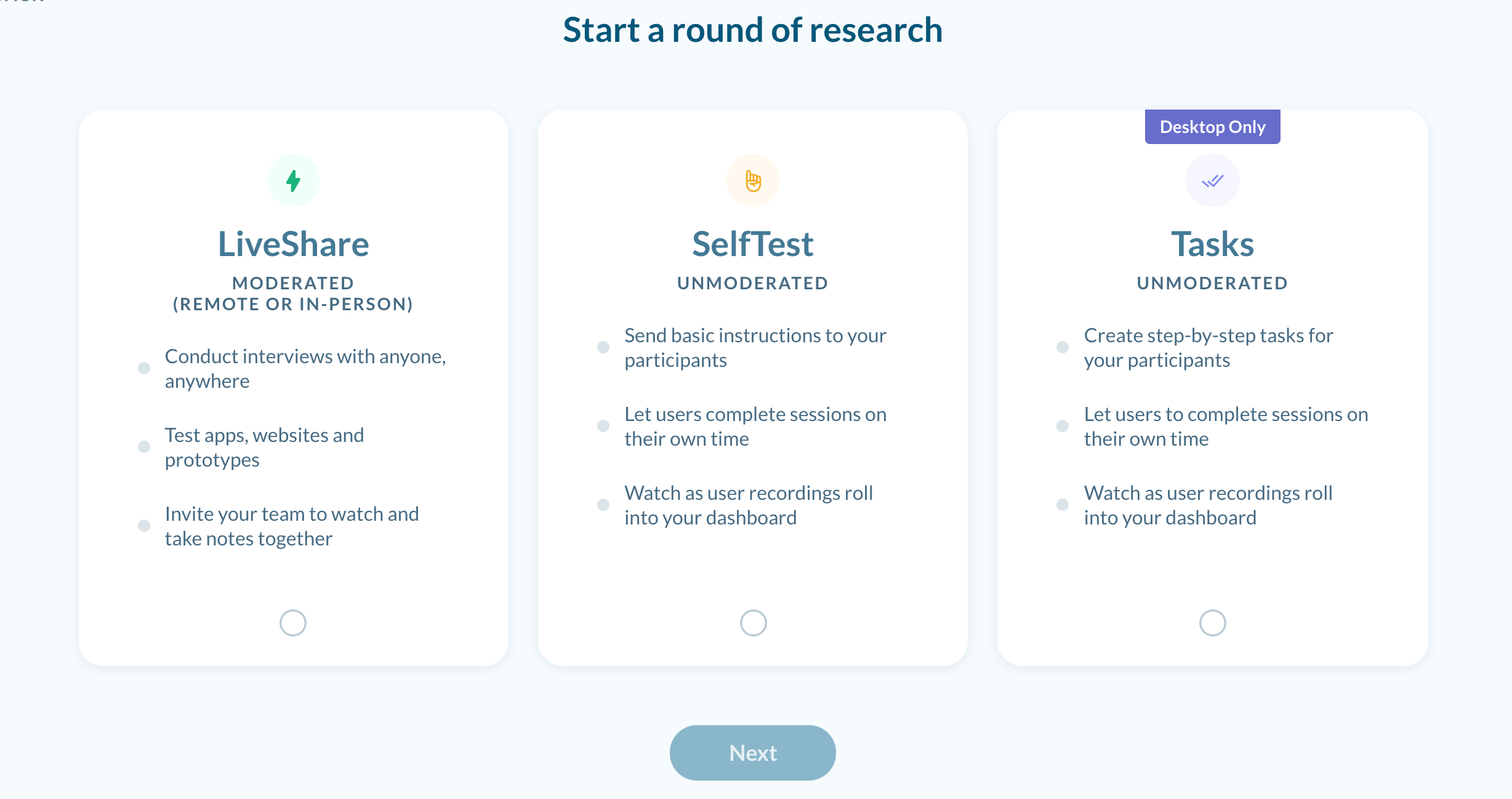 Choose the Type of Round - LiveShare, SelfTest or Tasks
