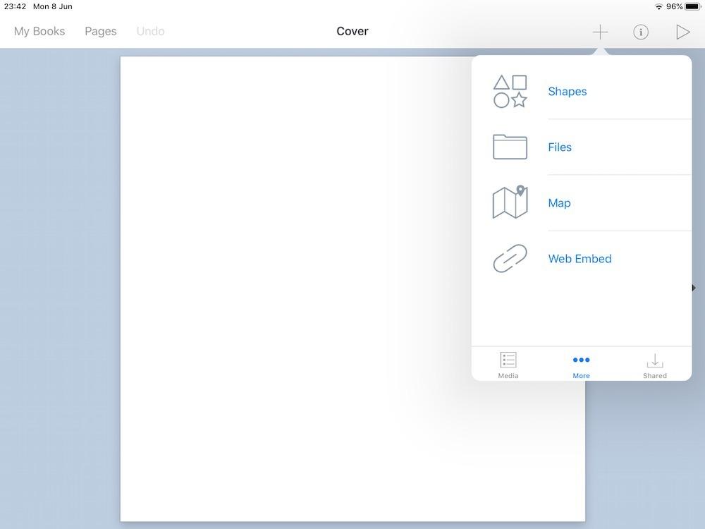 Opening the More... menu in Book Creator for iPad