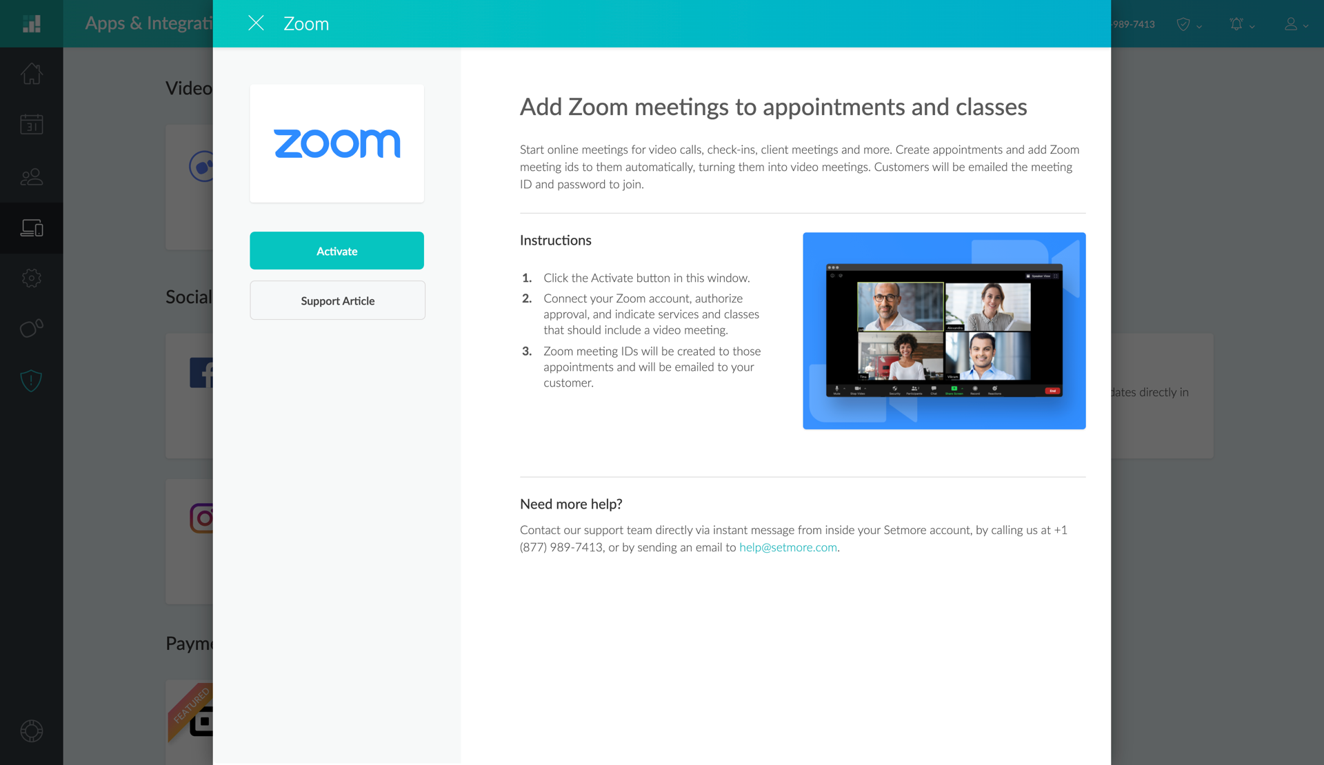 The Zoom Integration pop up window