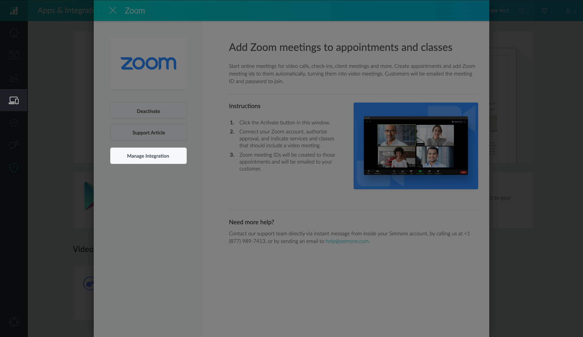 Managing the Zoom Integration settings