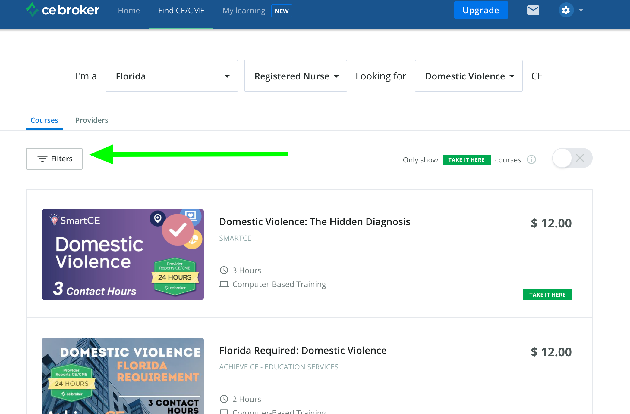 Screenshot of the course search page with an arrow pointing to the Filters button on the left side of the screen.