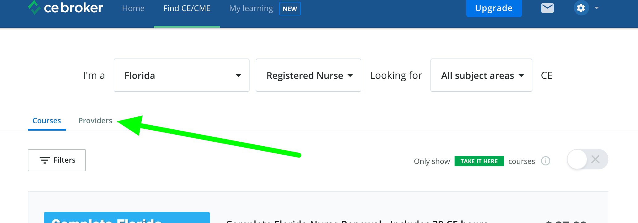 Screenshot of the course search page with an arrow pointing to a tab that says Providers.