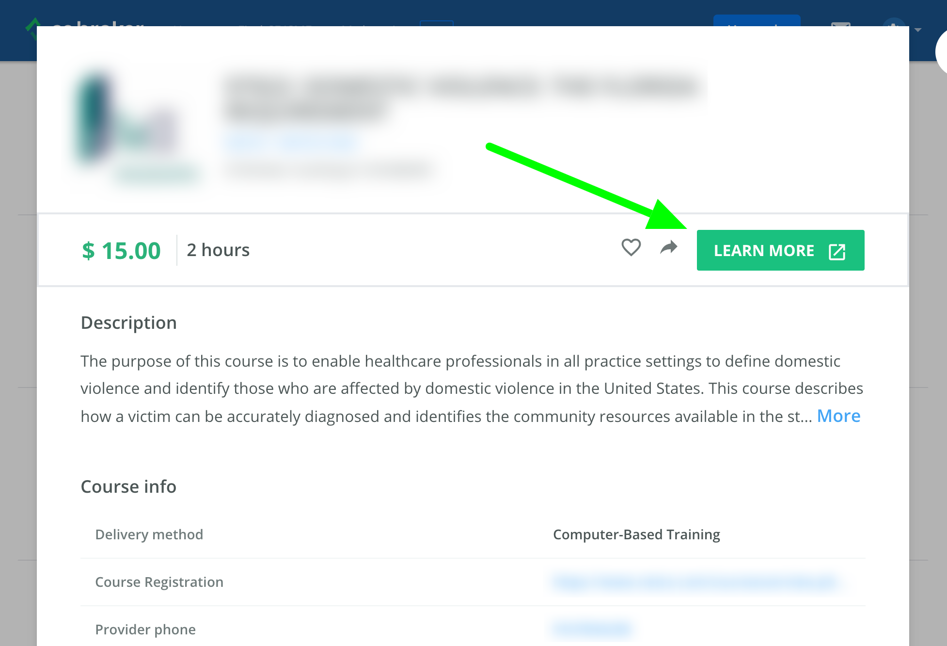 Screenshot of a course information page. An arrow points to a button that says Learn More.