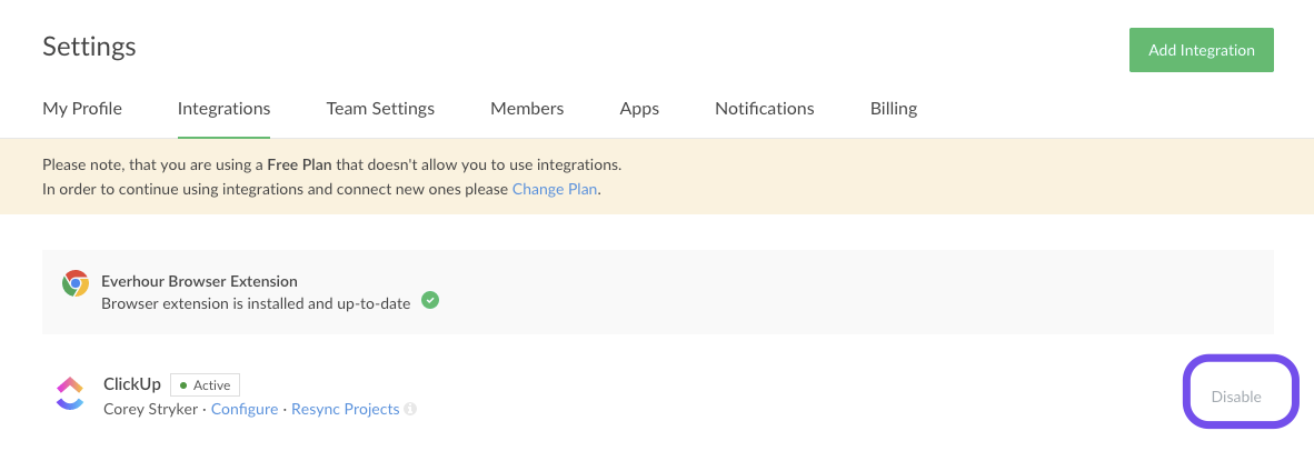 Settings and integration page on Everhour's site.