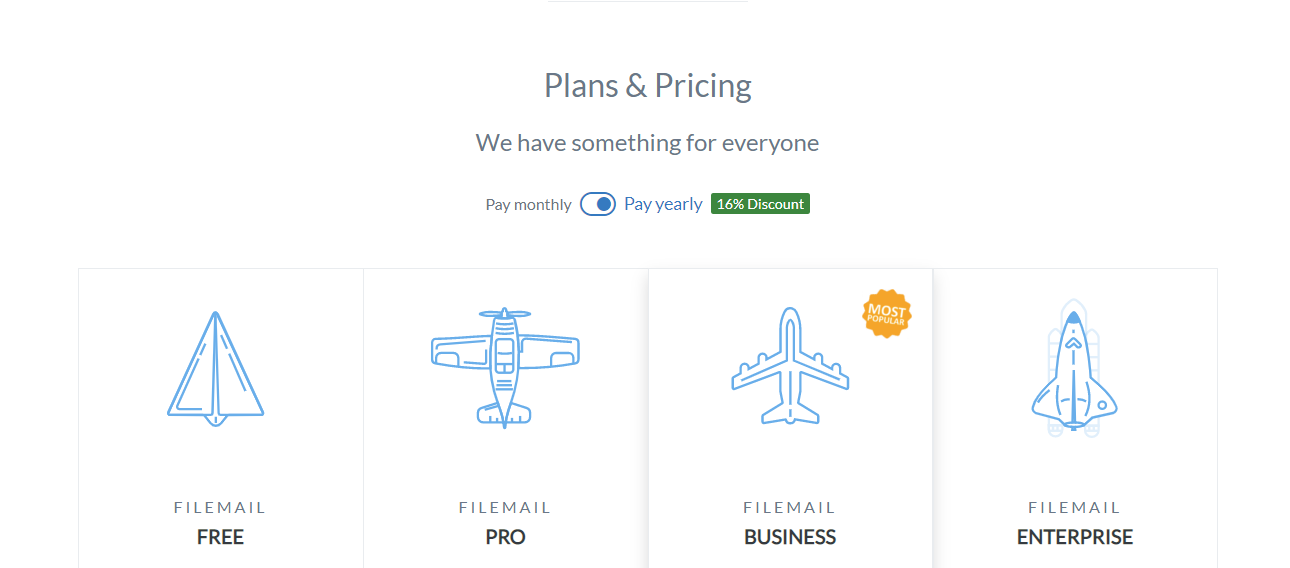 Filemail plans and pricing options