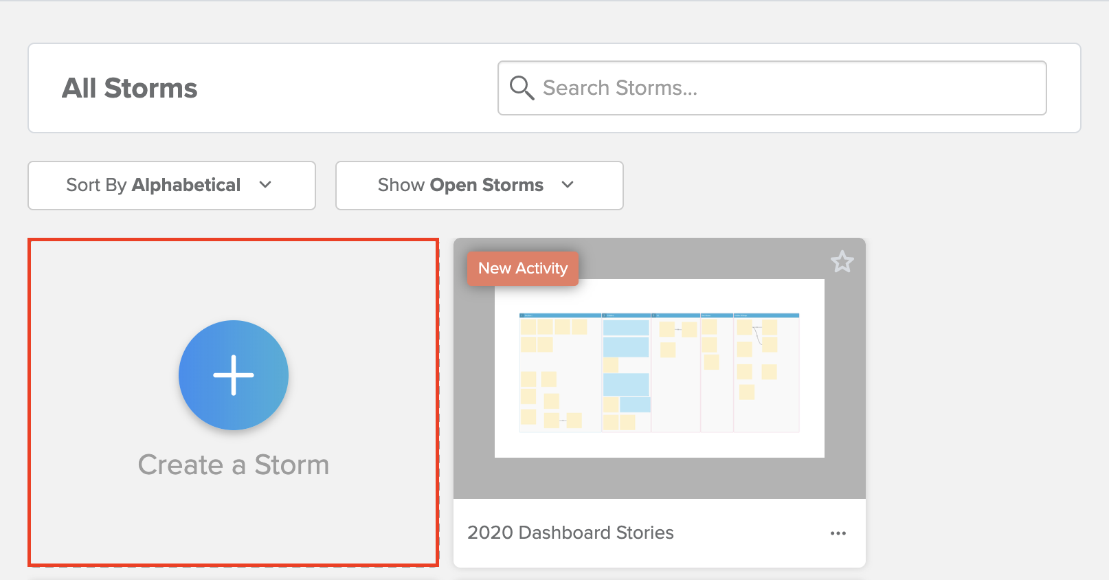 Create a Storm button highlighted