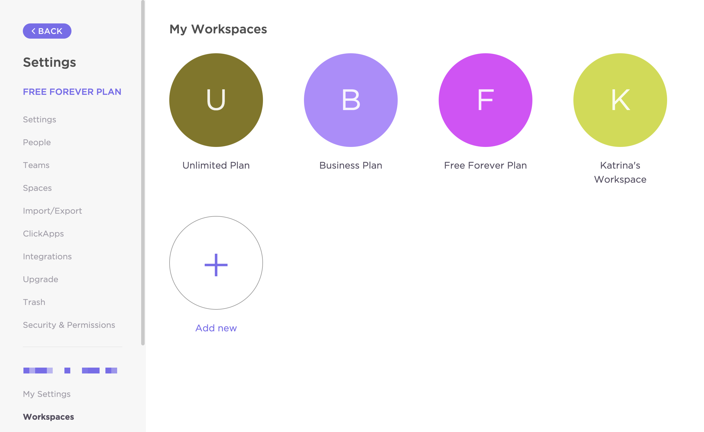 where one can add a new Workspace in Settings