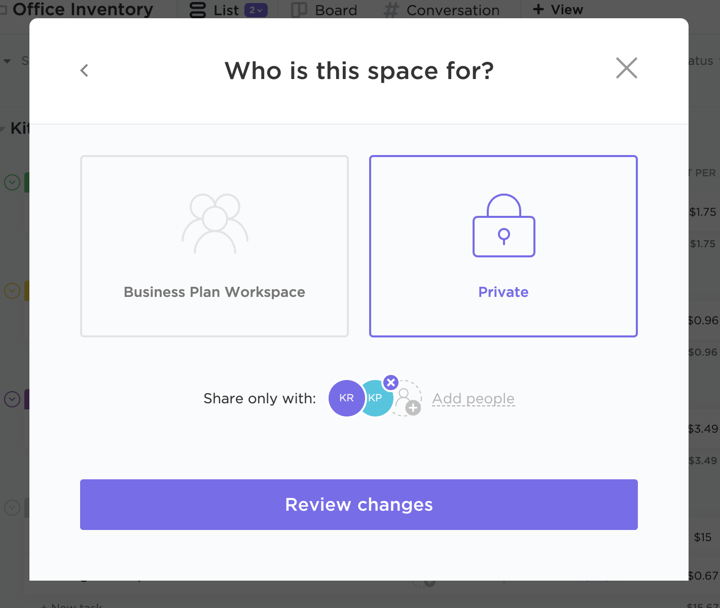 Panel that lets you choose if the Space you're creating will be private or public to the Workspace