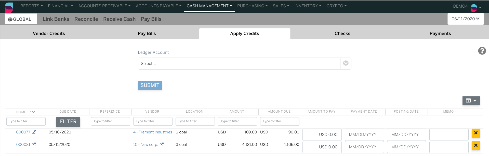 Apply Credits page from Cash Management>Pay Bills