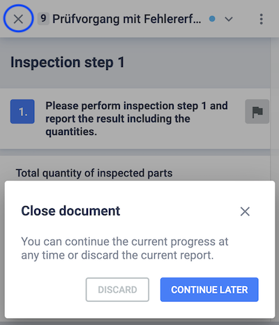 Discard a document or continue it later in the Assistant-Viewer