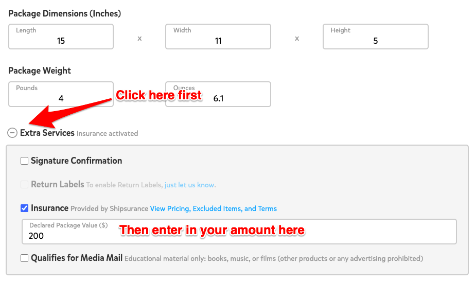 A screenshot showing the 'Extra Services' menu below where you'll enter your shipment's weight while creating a label. You may need to click the plus sign to the left of where it says 'Extra Services' to expand the menu below. There is an option for 'Insurance' in this menu with a check box to the left of it. If this checkbox is clicked, you will see a box below that says 'Declared Package Value,' which is where you'll enter your package's total value in USD.