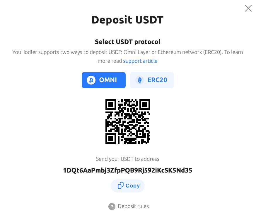 screenshot showing how to deposit USDT. Deposit USDT and select USDT protocol (OMNI or ERC20)