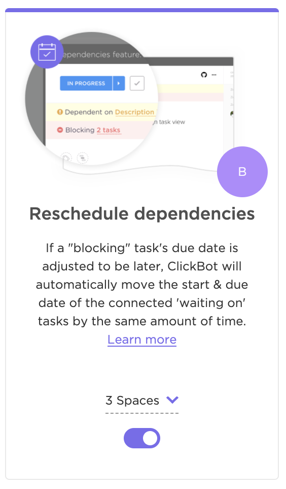 Reschedule Dependencies ClickApp