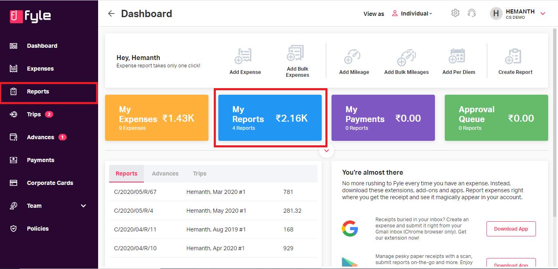 My reports tab in Fyle dashboard