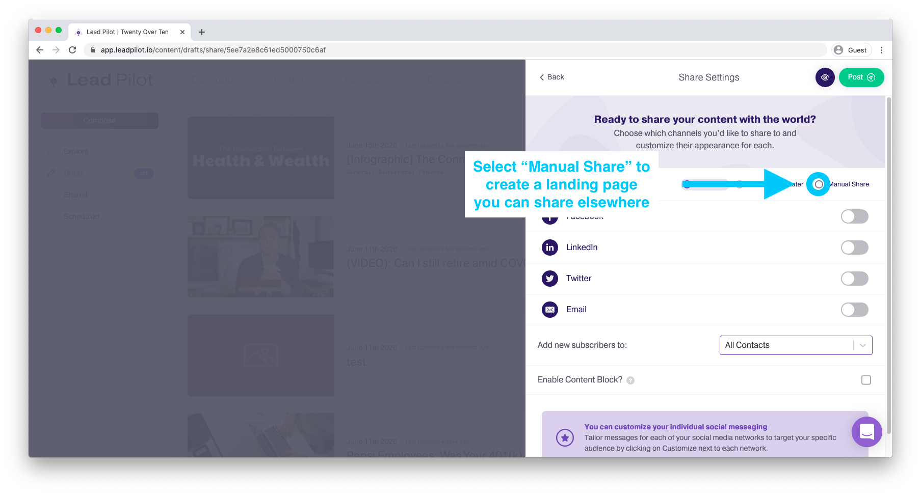 scheduling social posts in lead pilot