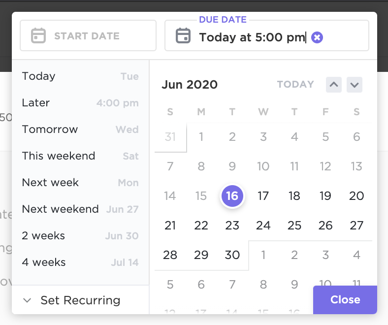 An image of the ClickU date picker and how to specify time while adding or editing your dates
