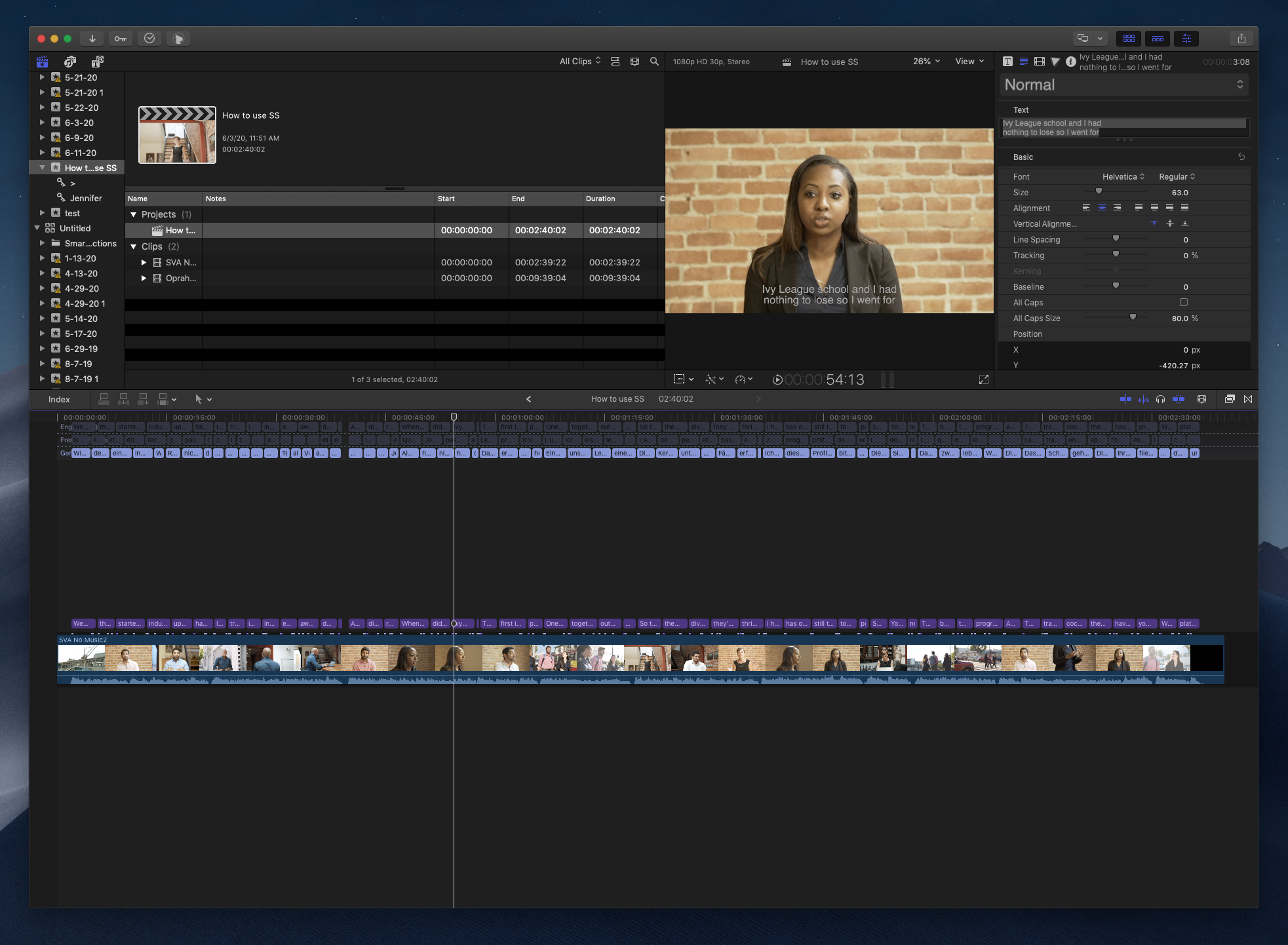 Your FCPX project now has subtitles, captions, and titles