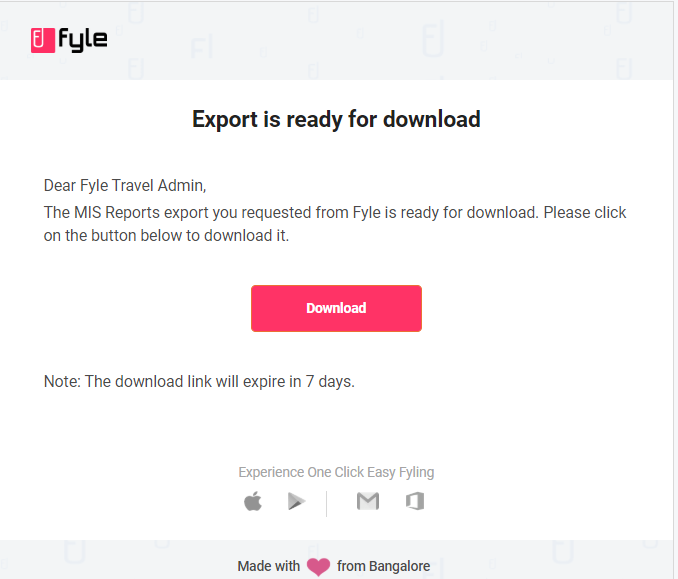 Downloading the export requested on Fyle via mail