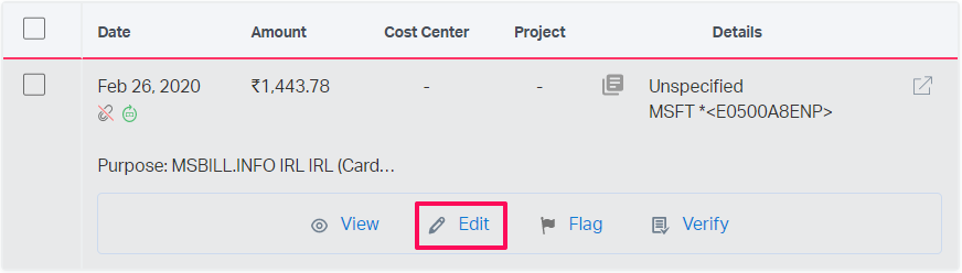 edit option for an expense inside a report