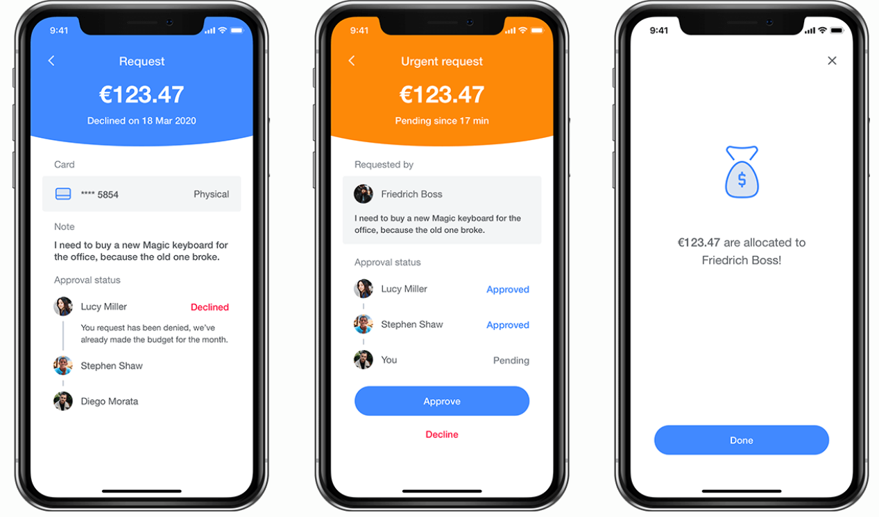 Fund requests in Payhawk mobile app