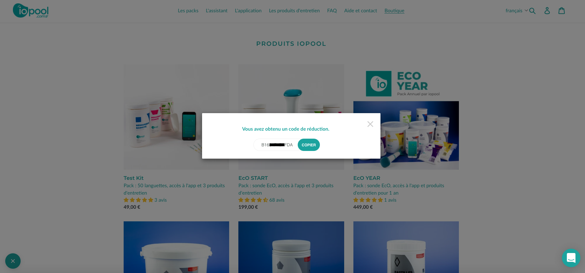 Referral code reception screen on the iopool store