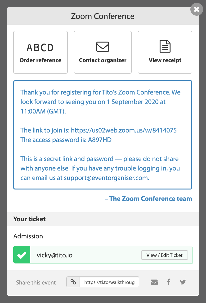 A Tito order confirmation with Zoom conference details included.