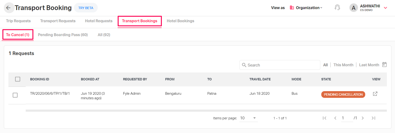 Canceling a booked transport request