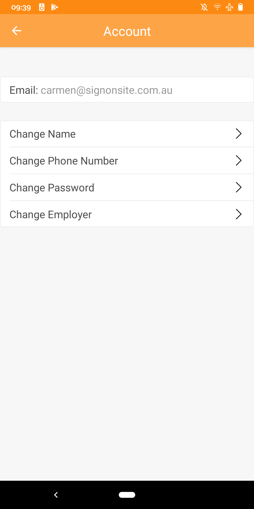 Account View on Android App