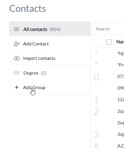 Contacts in Filemail