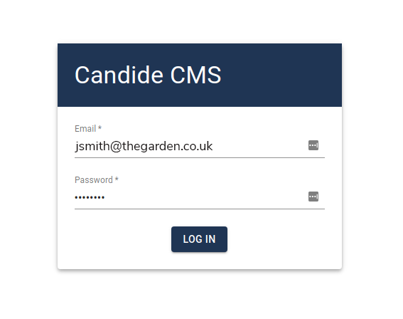 Log in window to CMS