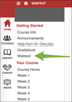 Screenshot of the course home page in Blackboard with an arrow pointing to the Webtext menu option on the left side.